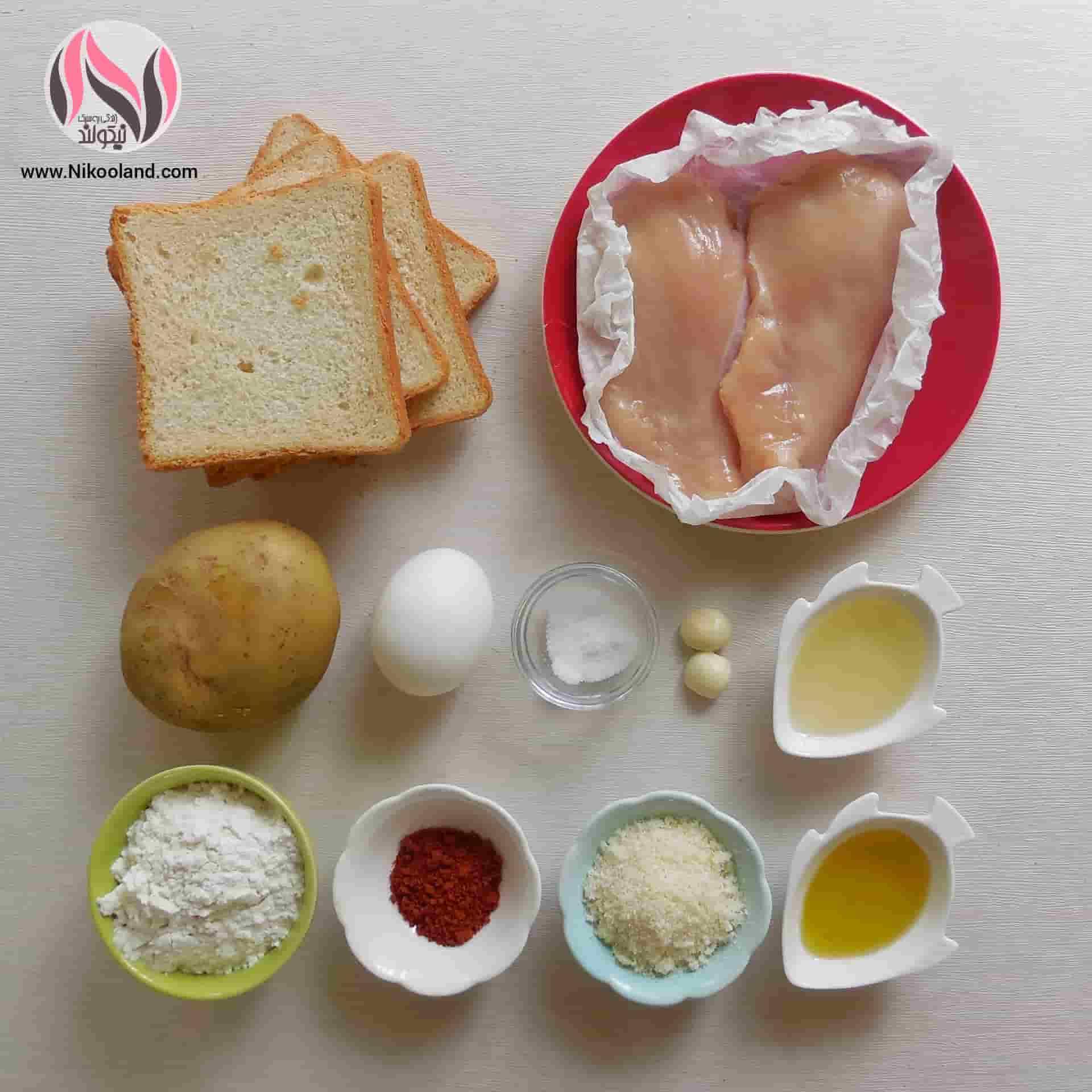 مواد لازم برای تهیه فیله مرغ سوخاری و سیب زمینی کبابی
