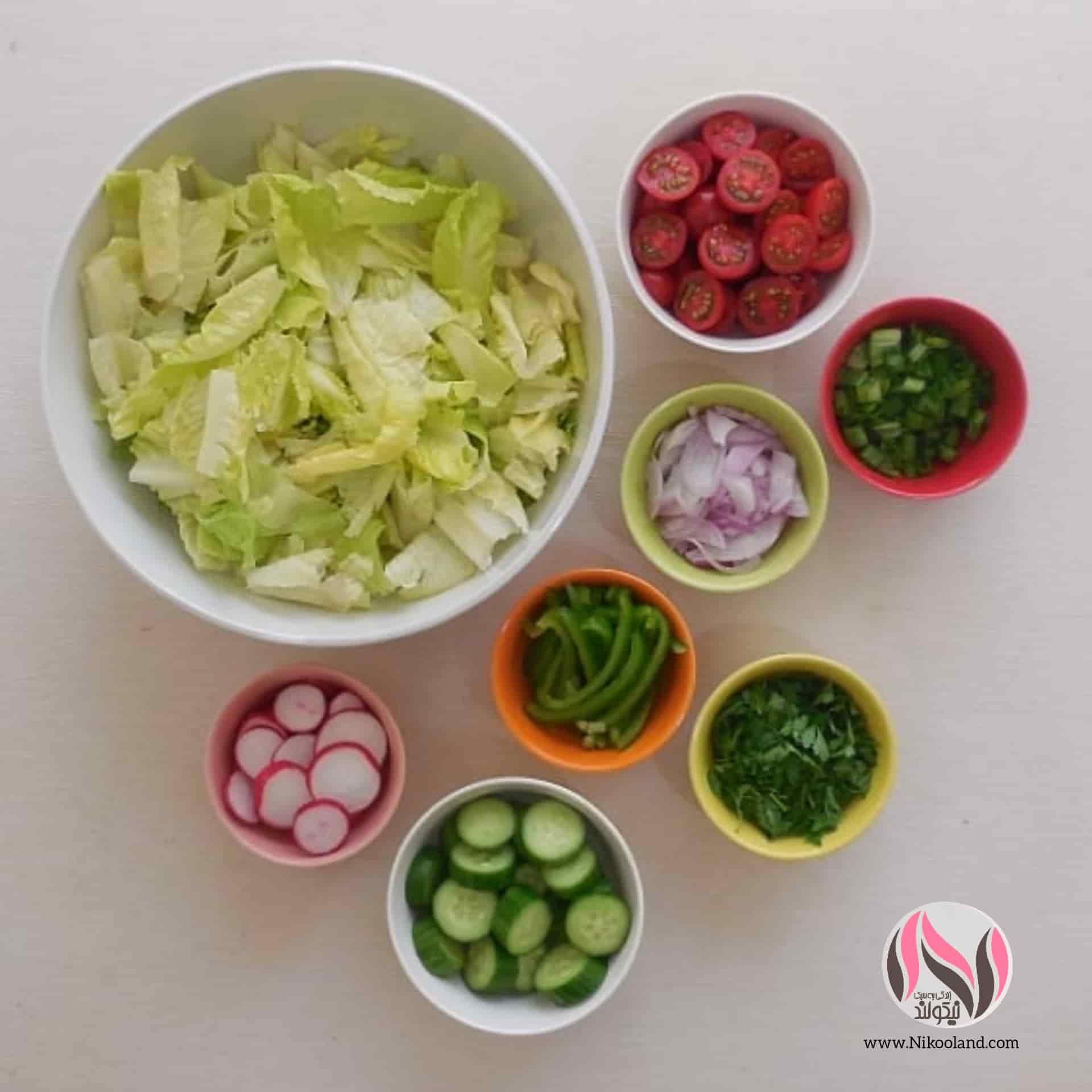 مواد لازم برای تهیه سالاد لبنانی